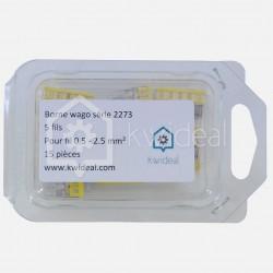 Borne wago série 2273, 2 fils de 0,5 à 2,5 mm² colisage de 15 pièces