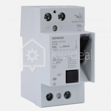 Interrupteur différentiel connexion à vis 63 ampères 30 ma type AC Siemens