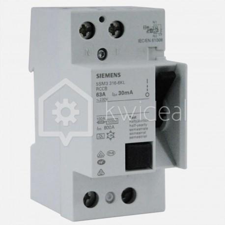 Interrupteur différentiel connexion à vis 63 ampères 30 ma type A Siemens