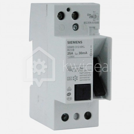 Interrupteur différentiel connexion à vis 25 ampères 30 ma type A Siemens