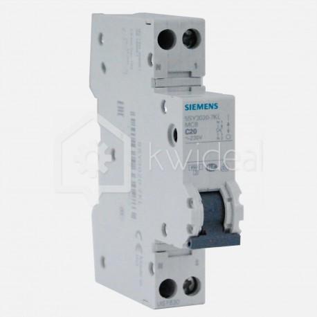 Disjoncteur PH+N connexion à vis 20 ampères - 4,5 KA - courbe C - 230 volts Siemens