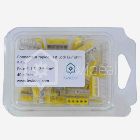 Connecteur rapide Eur'ohm Fastlock 5 fils de 1.5 à 2.5 mm² colisage de 40 pièces