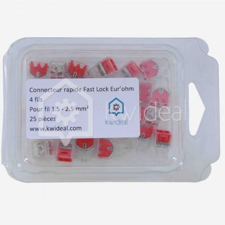 Connecteur rapide Fast Lock Eur'ohm 4 fils de 1.5 à 2.5 mm² colisage de 25 pièces