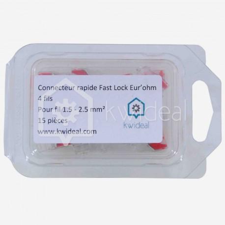 Connecteur rapide Fast Lock Eur'ohm 4 fils de 1.5 à 2.5 mm² colisage de 15 pièces