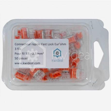 Connecteur rapide Fast Lock Eur'ohm 3 fils 1.5 à 2.5 mm² colisage de 50 pièces