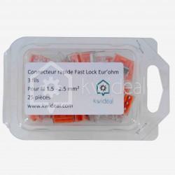 Connecteur rapide Fast Lock Eur'ohm 3 fils 1.5 à 2.5 mm² colisage de 25 pièces