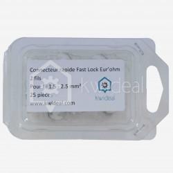 Connecteur rapide Eur'ohm Fastlock 2 fils de 1.5 à 2.5 mm² colisage de 25 pièces