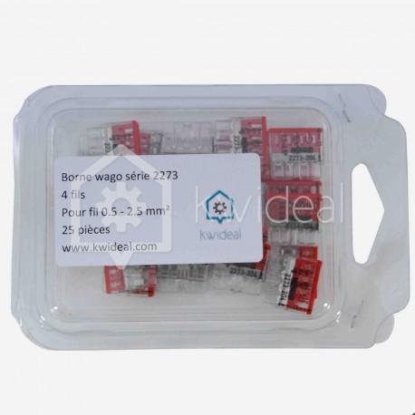 Borne wago 4 fils série 2273, 4x 0,5 à 2,5 mm², colisage de 25 pièces