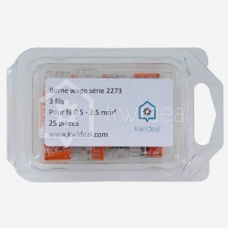 Borne wago 3 fils série 2273, 3x 0,5 à 2,5 mm², colisage de 25 pièces