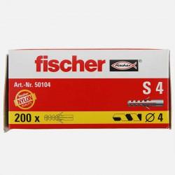 Cheville Fischer S4 4x20 mm pour vis 2 à 3 mm