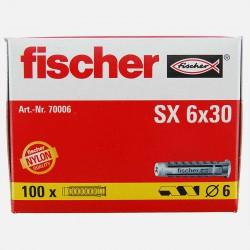 Cheville Fischer SX 6x30 mm pour vis de 4 à 5 mm