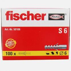 Cheville Fischer S6 6x30 mm pour vis 4 à 5 mm