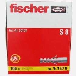 Cheville Fischer S8 8x40 mm pour vis 4,5 à 6 mm