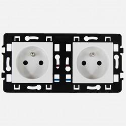 Prise double 2P+T 16A connexion rapide pré-cablée Eur'ohm série Esprit blanc