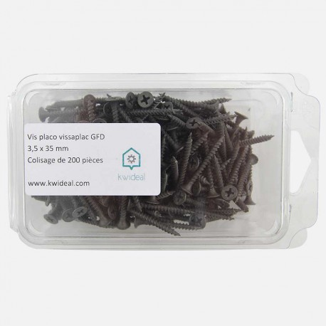 Vis placo phosphate noir 3,5x35 mm colisage de 200 pièces