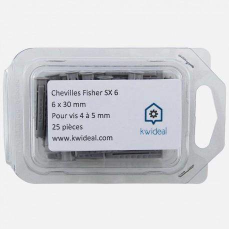 Cheville Fischer SX 6x30 mm pour vis de 4 à 5 mm colisage de 25 pièces