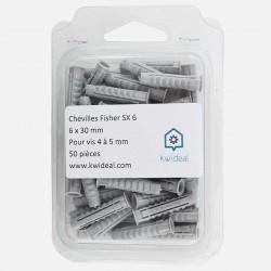 Cheville Fischer SX 6x30 mm pour vis de 4 à 5 mm colisage de 50 pièces