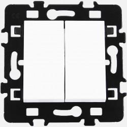 Double bouton poussoir Eur'ohm série Esprit blanc