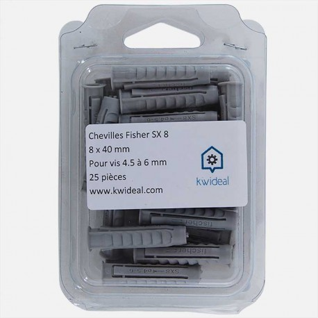 Cheville Fischer SX 8x40 mm pour vis de 4,5 à 6 mm colisage de 50 pièces