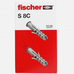 Cheville avec collerette Fischer S8C 8x40 mm pour vis 4,5 à 6 mm colisage de 100 pièces