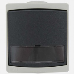 Interrupteur poussoir porte-etiquette Ouessant IP55 gris Eur'ohm