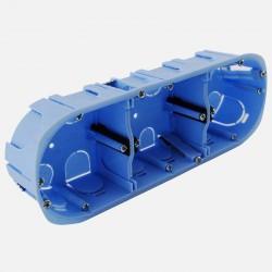 Boîte cloison sèche 3 postes XL pro Ø67 mm entraxe 71 P40 mm Eur'ohm