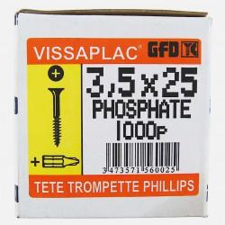 Vis placo phosphate noire 3,5x25 mm VISSAPLAC GFD colisage de 1000 pièces