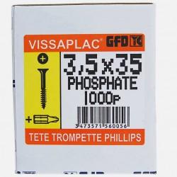 Vis placo phosphate noire 3,5x35 mm VISSAPLAC GFD colisage de 1000 pièces