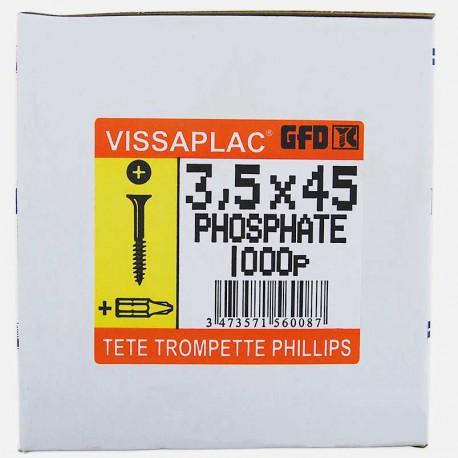 Vis placo phosphate noire 3,5x45 mm VISSAPLAC GFD colisage de 1000 pièces
