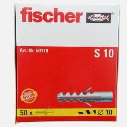 Cheville Fischer S10 10x50 mm pour vis 6 à 8 mm colisage de 50 pièces
