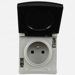 Prise 2P+T 16A grise IP65 Eur'ohm