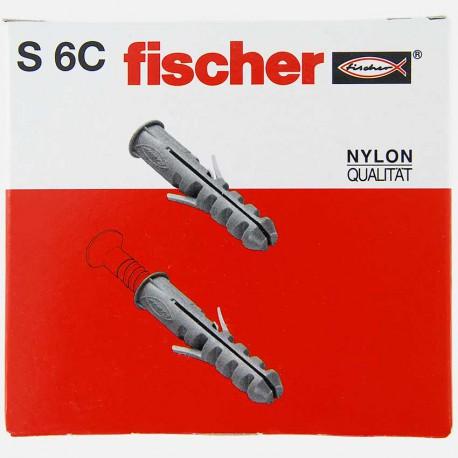 Cheville avec collerette Fischer S6C 6x30 mm pour vis 4 à 5 mm colisage de 100 pièces