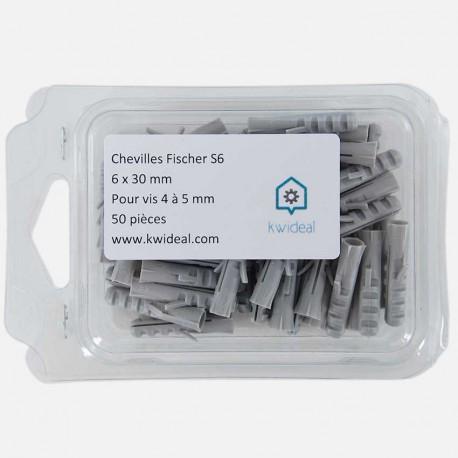 Cheville Fischer S6 6x30 mm pour vis 4 à 5 mm colisge de 50 pièces