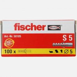 Cheville Fischer S5 5x25 mm pour vis 3 à 4 mm colisage de 100 pièces