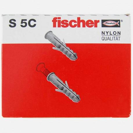 Cheville avec collerette Fischer S5C 5x25 mm pour vis 3 à 4 mm