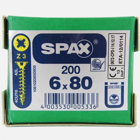VBA : Vis bois aggloméré tête fraisée 6x80 mm SPAX