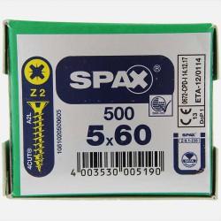 VBA : Vis bois aggloméré tête fraisée 5x60 mm SPAX