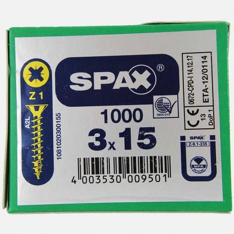VBA : Vis bois aggloméré tête fraisée 3x15 mm SPAX