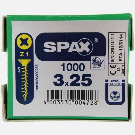 VBA : Vis bois aggloméré tête fraisée 3x25 mm SPAX