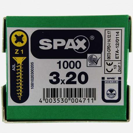 VBA : Vis bois aggloméré tête fraisée 3x20 mm SPAX
