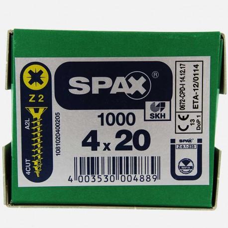 VBA : Vis bois aggloméré tête fraisée 4x20 mm SPAX
