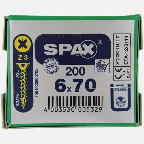 VBA : Vis bois aggloméré tête fraisée 6x70 mm SPAX