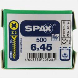 VBA : Vis bois aggloméré tête fraisée 6x45 mm SPAX