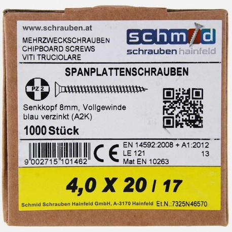 VBA : Vis bois aggloméré tête fraisée 4x20 mm SCHMID