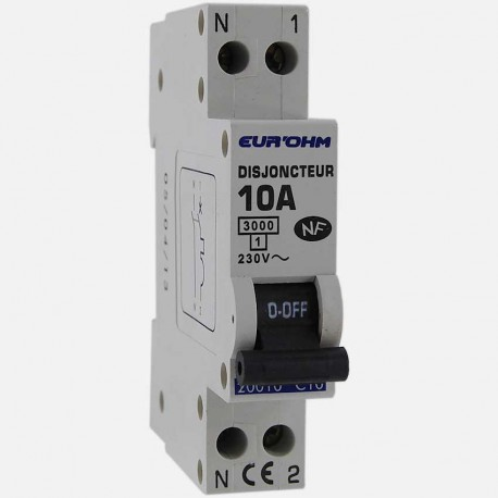 Disjoncteur PH+N connexion à vis 10 A - 230 volts Eurohm