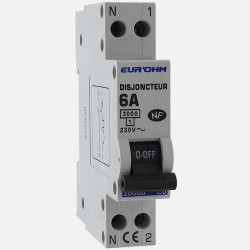 Disjoncteur PH+N connexion à vis 6 A - 230 volts Eurohm
