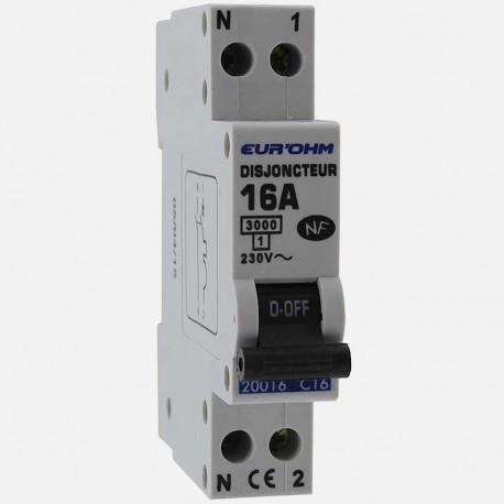 Disjoncteur PH+N connexion à vis 16 A - 230 volts Eurohm