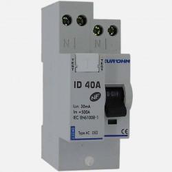 Interrupteur différentiel connexion à vis type AC 40A 30 ma - Eurohm