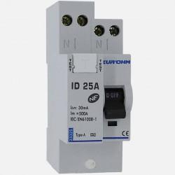 Interrupteur différentiel connexion à vis type A 25A 30 ma - Eurohm