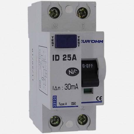 Interrupteur différentiel type A 25A 30 ma connexion à vis - Eurohm